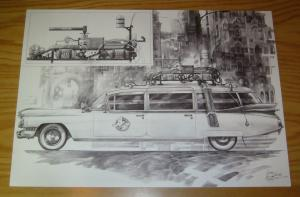 Ghostbusters Ecto-1 original unpublished art commissioned by 88MPH proton pack