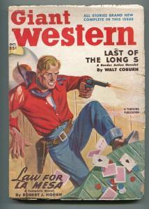 GIANT WESTERN 10/1950-THRILLING-PULP WESTERN-ROBERT J HOGAN-CARD GAME-vg