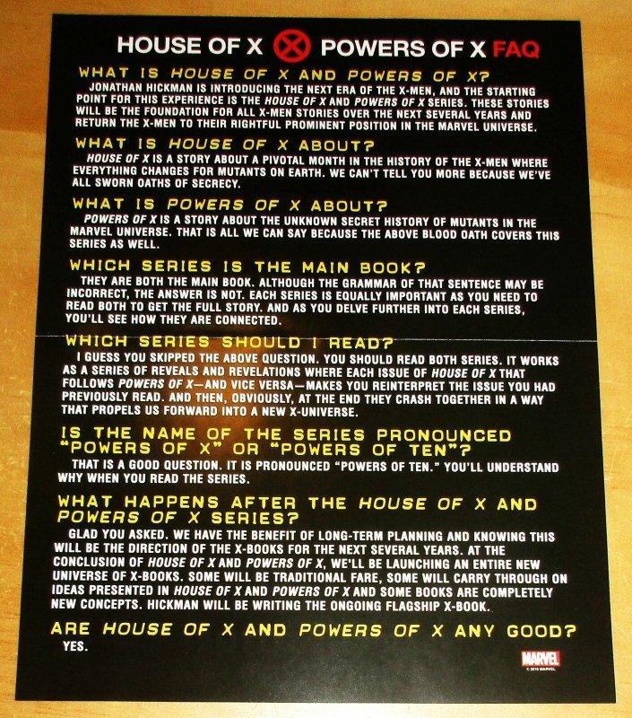 Powers Of X Folded Mini Promo Poster 10 x 13 (Marvel, 2019) New!