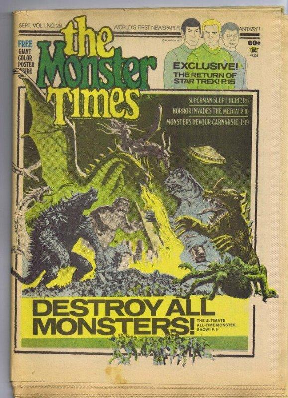 ORIGINAL Vintage 1973 The Monster Times Horror Newspaper Magazine #26 Star Trek