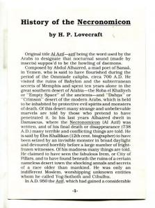 HISTORY of the NECRONOMICON, VF, H P Lovecraft, Flyer / promo, rare, 4 page