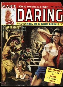 Man's Daring Nov 1962-NAZI WITCH DOCTOR BASHES HEAD OF BABE!