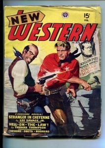NEW WESTERN-FEB 1947-VIOLENT PULP FICTION-WANTED POSTER COVER-SAVAGE JR-vg