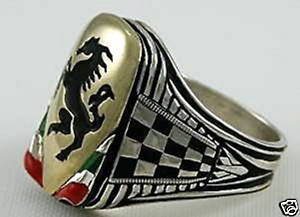Italian Black Stallion Gents Shield ring ster silver