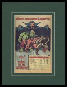 1980 Marvel Magazines Framed 11x14 ORIGINAL Vintage Advertisement Hulk Conan