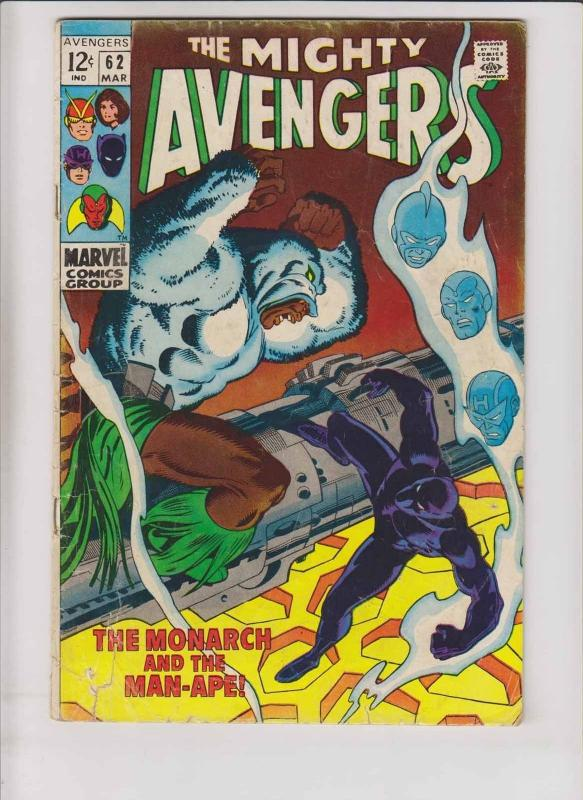 Avengers #62 low grade - 1st appearance of man-ape - black panther - roy thomas