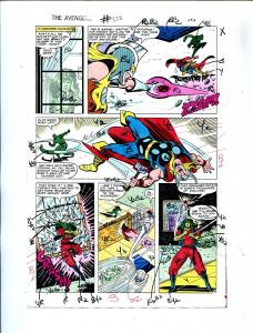 Avengers #222 1982 Hand Painted  Colorguide Page 19-She-Hulk-Thor-VG