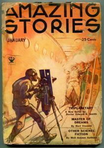 Amazing Stories Pulp January 1934- Wild Ray Gun cover FAIR