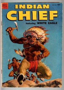 INDIAN CHIEF #14-DELL-1954-CLASSIC INDIAN COVER-WHITE EAGLE APPEARS-F/VF-RARE VG
