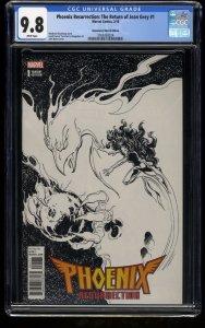Phoenix Resurrection #1 CGC NM/M 9.8 Return of Jean Grey Sketch Variant Cover!