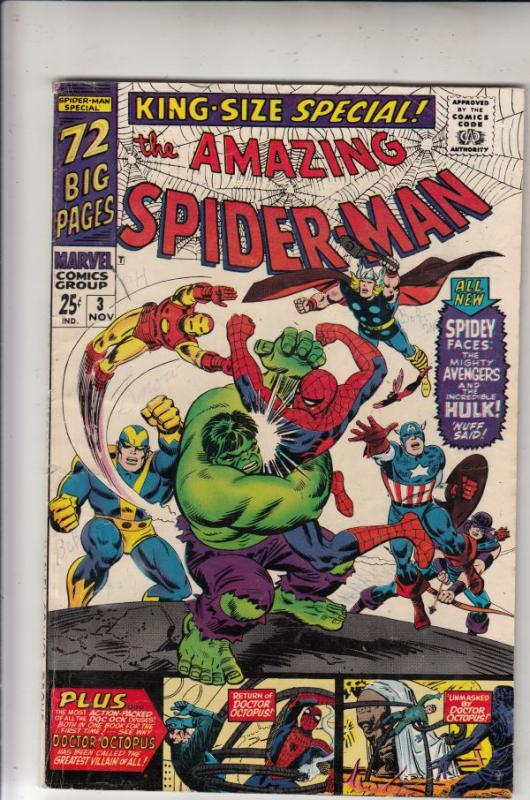 Amazing Spider-Man, King-Size Annual #3 (Nov-66) VG- Affordable-Grade Spider-Man