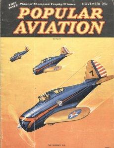 Popular Aviation NOV/1936-Herman R. Bollin PULP STYLE COVER ART--NATIONAL AIR RA