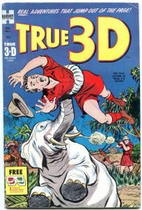 TRUE 3-D COMICS #1 1953-WILD ELEPHANT ATTACK COVER FN