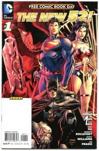 The NEW 52 #1, NM-, FCBD, Wonder Woman, Batman, Superman, Jim Lee, Gena Ha,2012