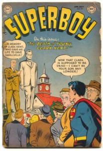 Superboy Comics #19 1952- Death of Clark Kent- glued G-