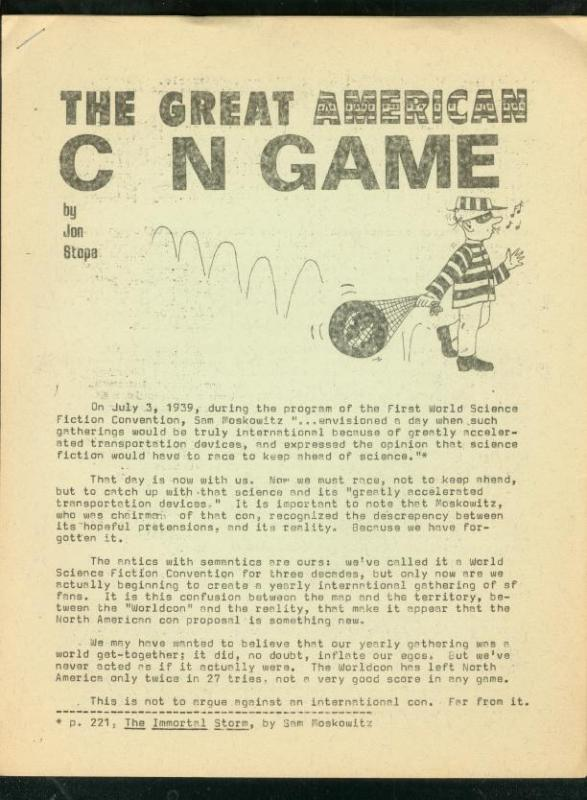GREAT AMERICAN CON GAME-WORLD SCI FI CON-NEWSLETTER-'66 FN/VF