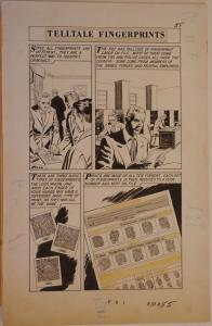 FBI - WORLD AROUND US #6 pgs 55-57 original art, 1959, 3 pgs, FingerPrints, CSI
