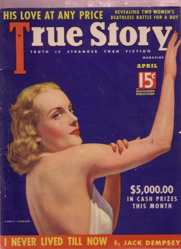 TRUE STORY PULP APR 1938- CAROLE LOMBARD-JACK DEMPSEY VF