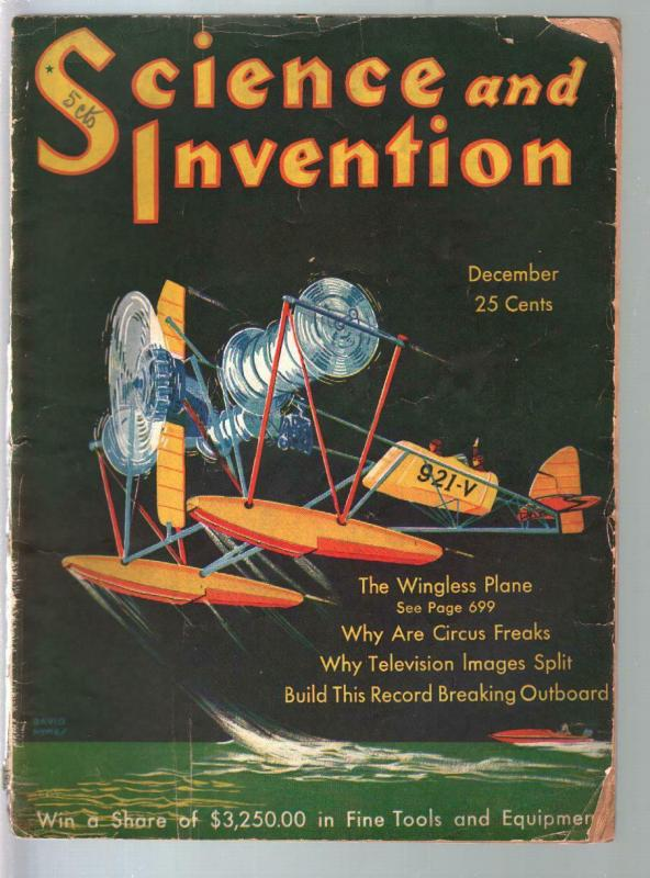 Science & Invention 12/1930-Gernsback-Circus Freaks-David Hymes-Dunninger-P/FR