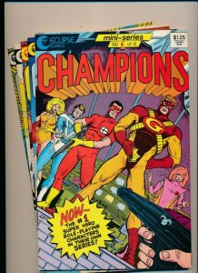 Eclipse Comics LOT OF 5-CHAMPIONS #1-4 & 6 (of 6 part series)VERY FINE+ (PF897)