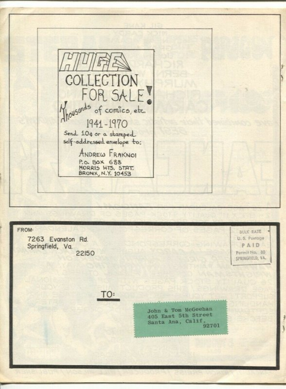 Gary Groth's Fantastic Adzine #2 1970-print run of 1000-collection of the McGeeh