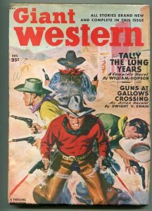 GIANT WESTERN 08/1949-THRILLING-PULP WESTERN ACTION-GUN FIGHT COVER-fn