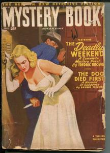 MYSTERY BOOK-FALL 1949-THRILLING-SPICY BABE-HARD BOILED-PULP-HALLIDAY-good+