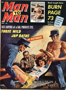 MAN TO MAN-MAY 1964-BED OF NAILS TORTURE COVER-CHEESECAKE-PULP FICTION