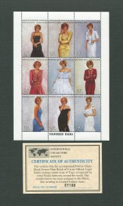 Princess Diana Royal Gown Commemorative Stamp Sheet  1997