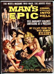 Man's Epic Pulp Magazine April 1964-Naked women beat up NAZI