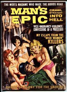 Man's Epic Pulp Magazine April 1964-Naked women beat up NAZI
