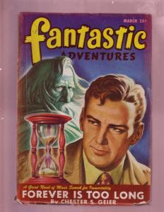 FANTASTIC ADVENTURES-MAR 1947HOUR GLASS COVER-RARE PULP VG