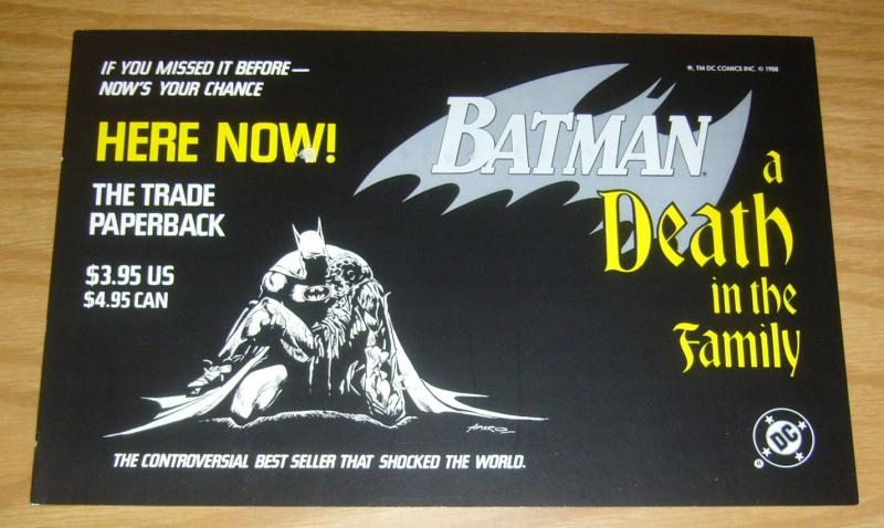 Batman: A Death In The Family TPB promo poster/sign - death of robin - jim aparo