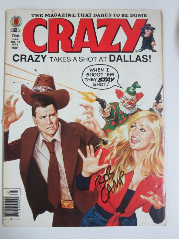 Crazy Magazine 74 (Marvel 1981) Parodies Funnies Early Work of Bob Camp  Signed!