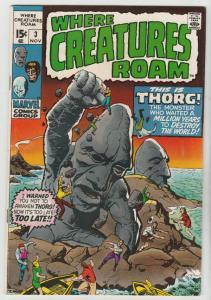 Where Creatures Roam #3 (Nov-70) FN/VF+ High-Grade Khan