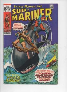 SUB-MARINER #24, VF, Buscema, Tiger Shark, 1968 1970, more in store
