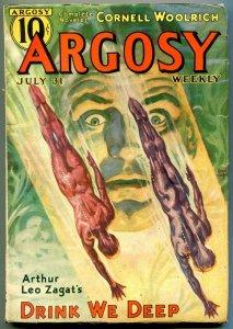 Argosy Pulp July 31 1937- Black Cargo slave ship story- Cornell Woolrich FN-