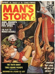"MAN""S STORY 5/1962-COMMIE HANG BY THUMBS TORTURE-BONDAGE-CHEESECAKE"