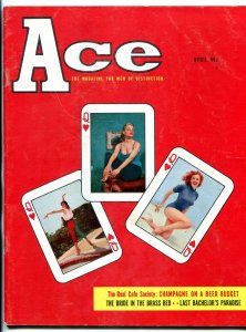 Ace Magazine April 1958- Playing card cover- cheesecake FN