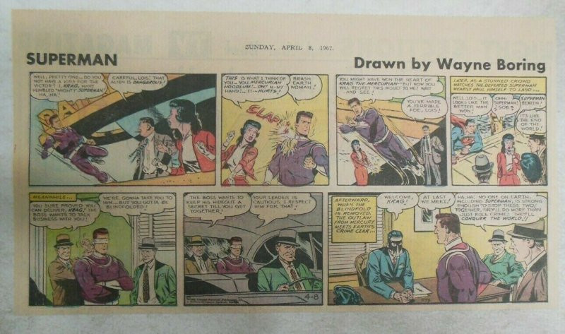 Superman Sunday Page #1173 by Wayne Boring from 4/8/1962 Size ~7.5 x 15 inches