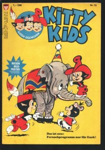 Kitty Kids #15 1980's-Cartoon type humor-German edition-Poster still attached-FN