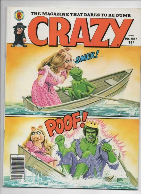 CRAZY #57 Magazine, FN, Kermit Hulk Miss Piggy, 1973 1979, more in store