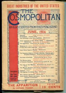 Cosmopolitan 6/1904-H G Wells-science fiction-famous cartoonists-FN MINUS