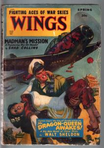 WINGS SPRING 1950 RARE PULP DRAGON PLANE GIRL CVR G