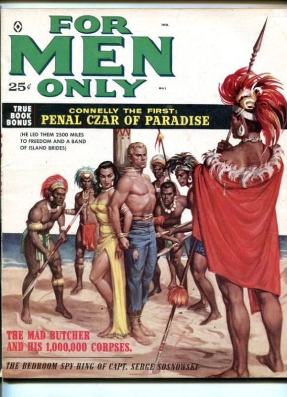 FOR MEN ONLY-MAY 1959-BOUND NATIVE GIRL-CON MAN STORY-POLLEN ART-fn minus