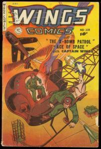 WINGS COMICS #115 1951-FICTION HOUSE--PARACHUTE--ROCKET G/VG