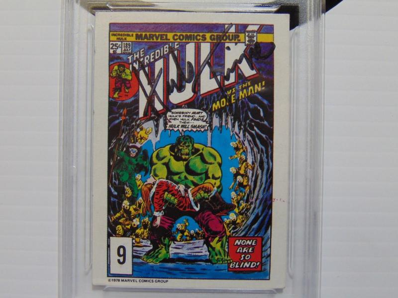 1978 Drakes Cakes Marvel Incredible Hulk Card Autographed Herb Trimpe - Graded 5