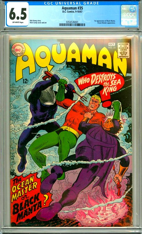 Aquaman 35 CGC Graded 6.5 O/W pgs, 1st Black Manta