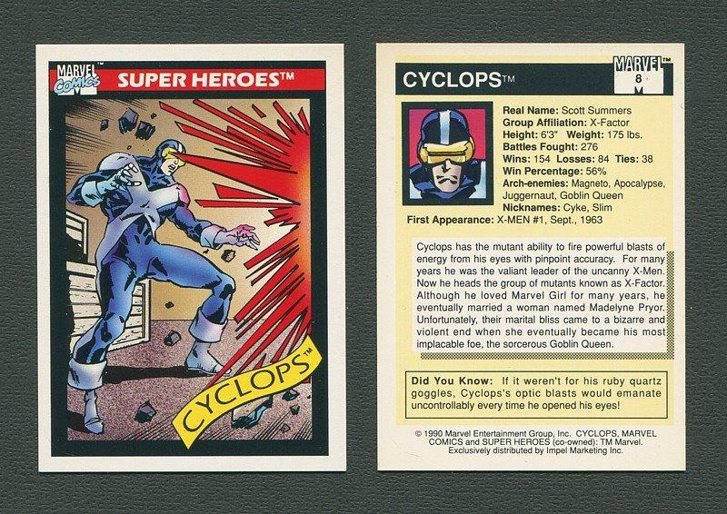 1990 Marvel Comics Card  #8 (Cyclops) / MINT
