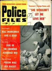 Police Files 6/1960-spicy babe-Mad Marksman-poison-crowded marriage bed-G